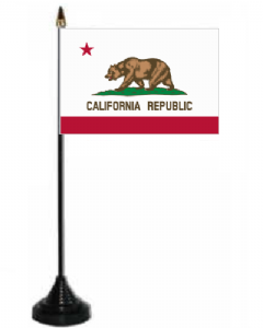 California Desk / Table Flag with plastic stand and base.